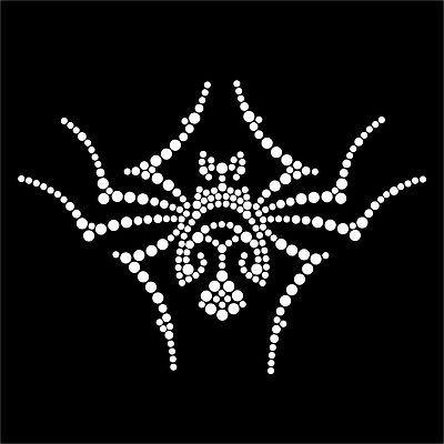 Halloween Spider iron-on Rhinestone Transfer Diamante T-Shirt Bling Gothic UK