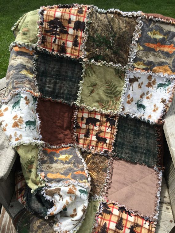 Woodland Fishing And Hunting Flannel Rag Quilt Large Fish Etsy Rag Quilt Flannel Rag Quilt Quilts