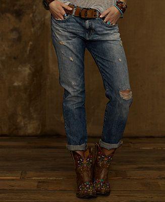 Denim & Supply Ralph Lauren Distressed Boyfriend Jeans, Oceanside Wash -  Jeans - Women -