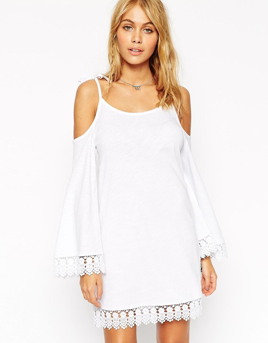 06c1ceda28f8 Image 1 of ASOS Swing Dress with Cold Shoulder and Flared Sleeve and Lace  Trim