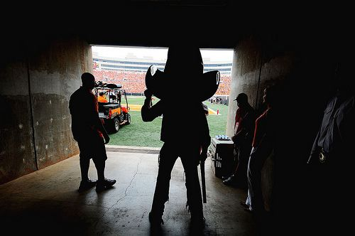 "Oklahoma State mascot ""Pistol Pete"" waits to go on the field."
