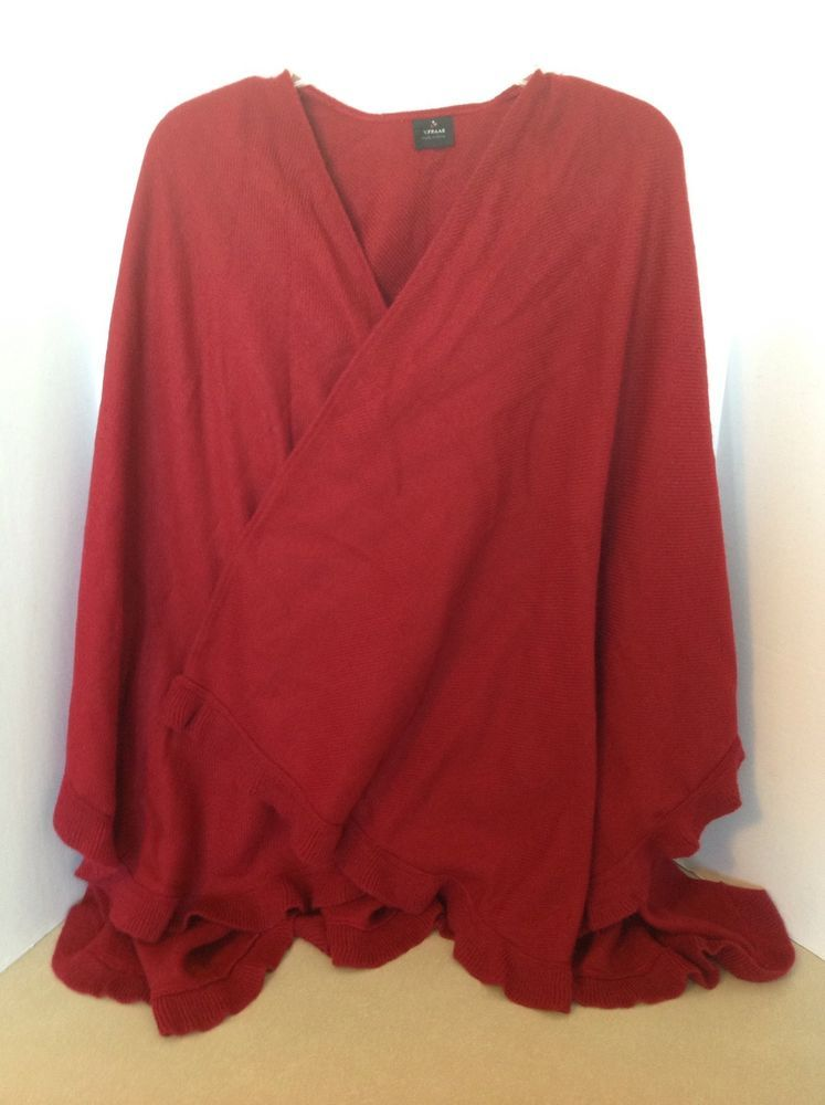 Women's Red Ruffle Sweater Wrap One Size Winter Layer #VFraas #WrapSwing