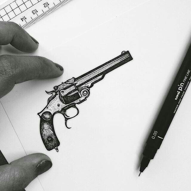 Small Tattoo Guns: Pin On Gun Tattoo