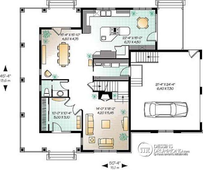 Plan de Rez-de-chaussée Maison 2 étages, style Américain, 3 chambres