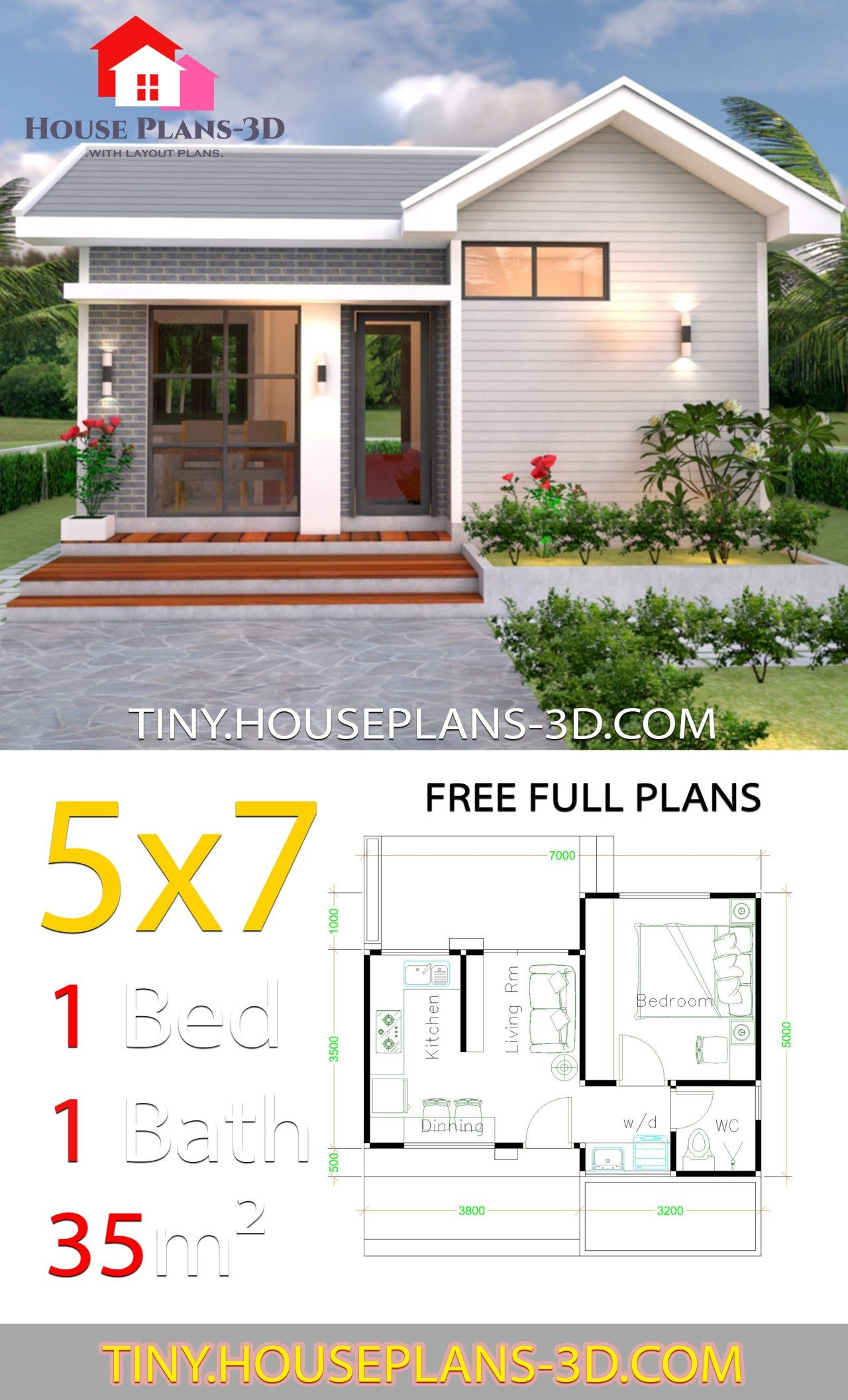 Small House Design Plans 5x7 With One Bedroom Gable Roof Tiny House Plans Guest House Plans Small House Design Plans Simple House Plans