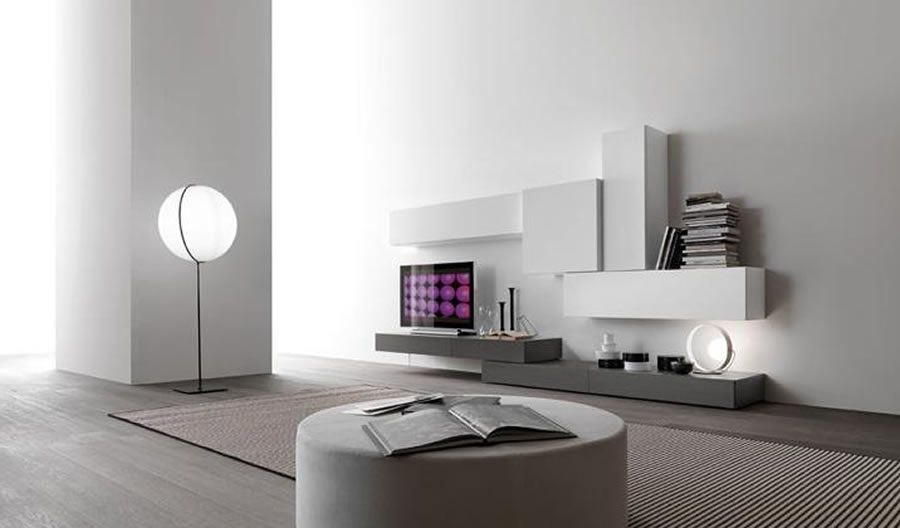 Contemporary modular wall unit design for home interior furniture modus by presotto