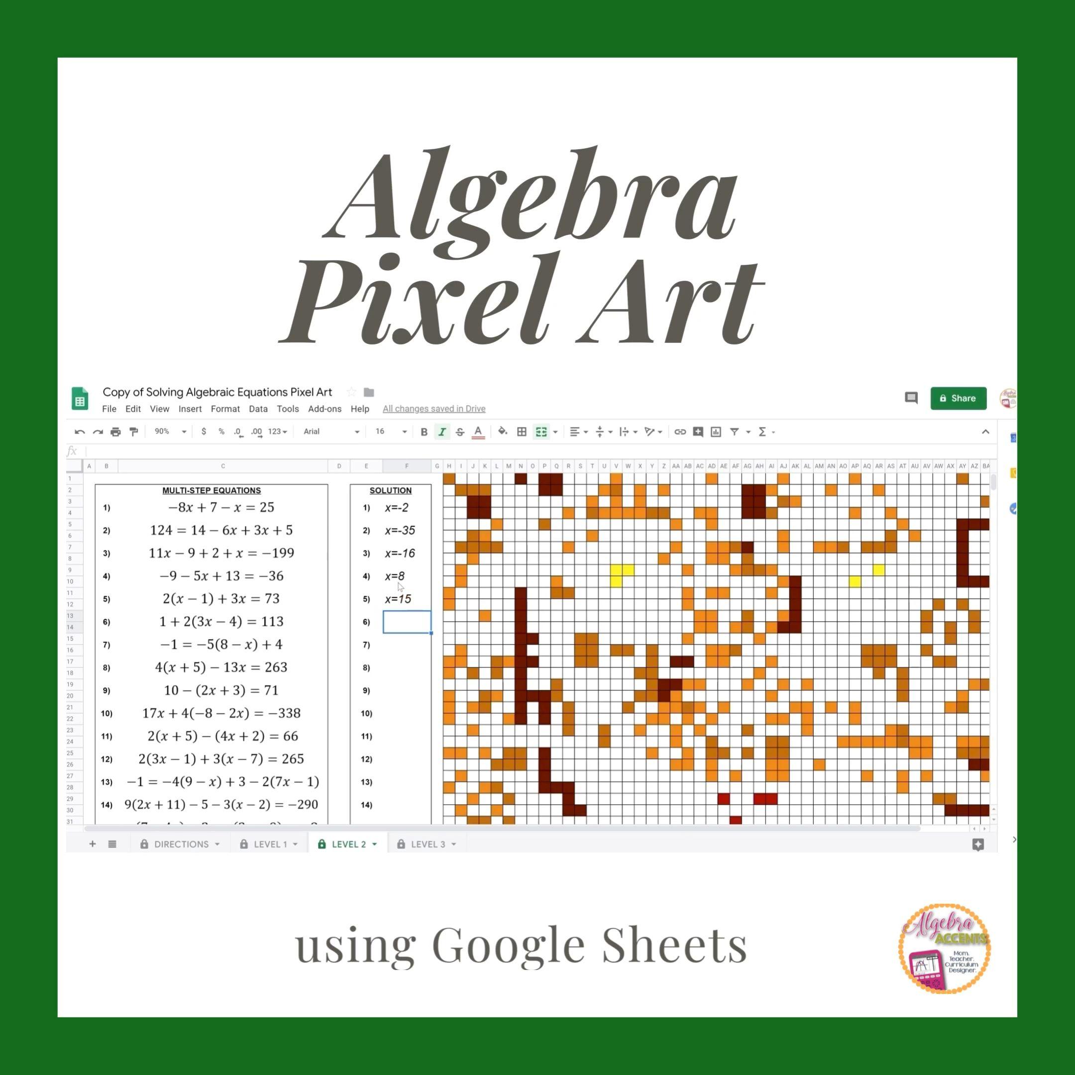 Solving Equations Pixel Art Made For Google Drive By Algebra Accents Video Solving Equations Equations Algebra [ 2160 x 2160 Pixel ]
