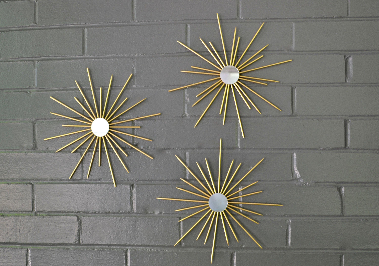 Steel Metal Starbursts Gold Metallic Sunburst Wall Art Artwork Etsy Sunburst Wall Art Decor Interior Design Art