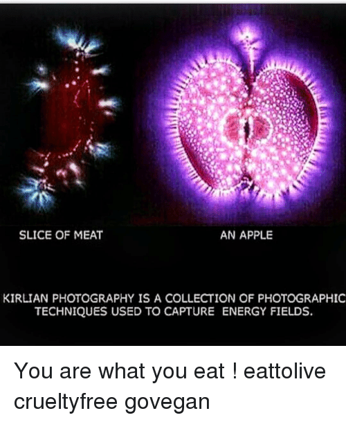 slice of meat and apple - Kirlian photography | Hercules