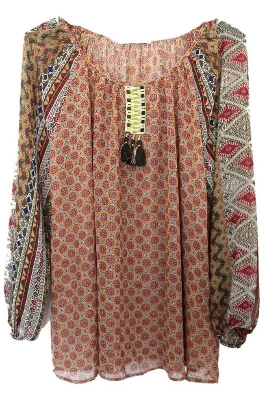 tunique blouse boheme pompons grande taile boho bohemian gypsy grande taille femme boheme boho. Black Bedroom Furniture Sets. Home Design Ideas