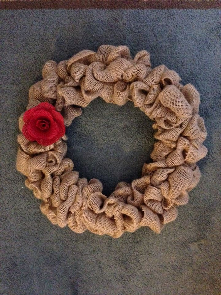 This is my first burlap wreath and burlap rose. I am making burlap poinsettias for Christmas to put on wreath.