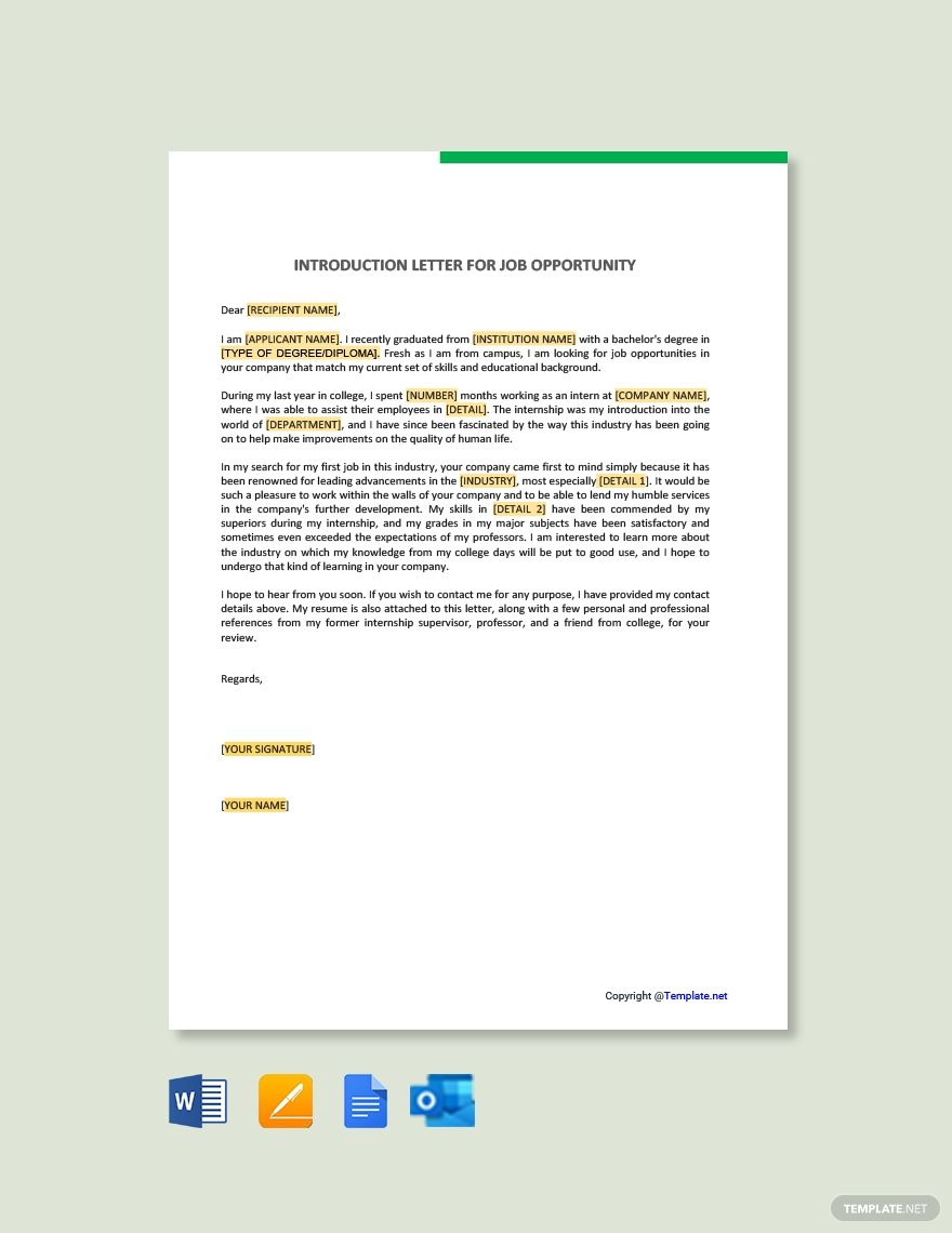 FREE Introduction Letter for Job Opportunity Template