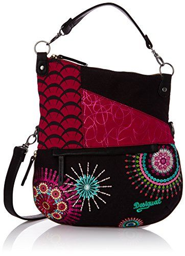 7078291a650e0 Desigual Folded Eclipse Woman Woven Across Cross Body Bag, Black, One Size