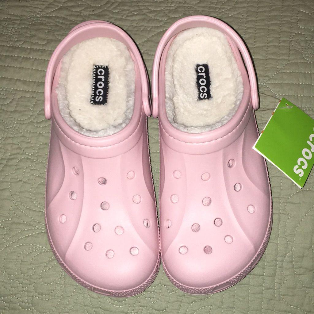 Crocs shoes crocs pink fuzzy lines sz 11 color pink