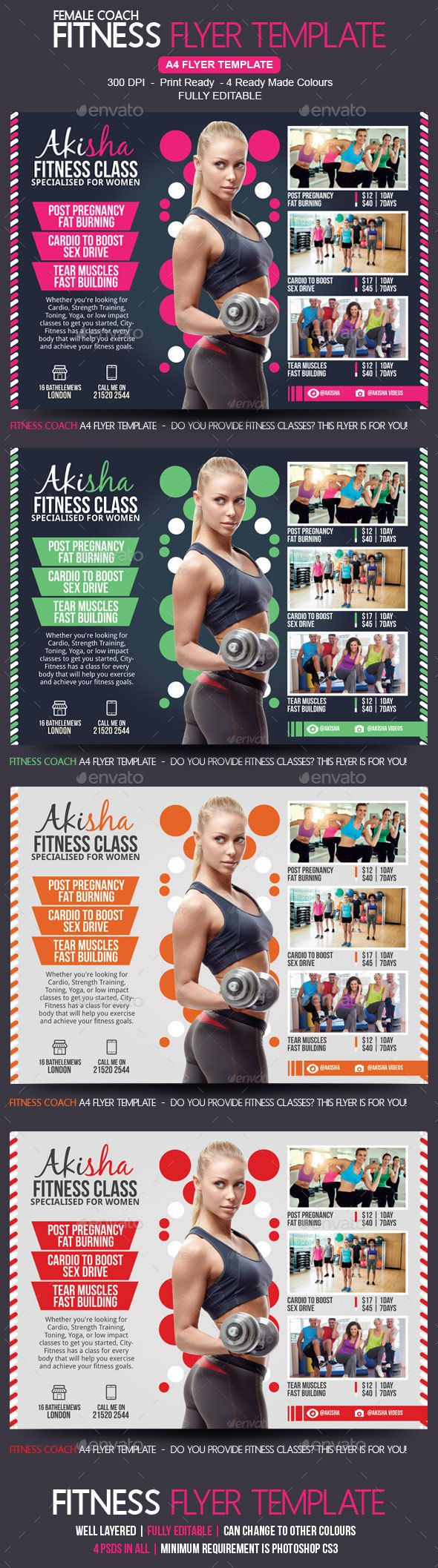Fitness Class Flyer Template Corporate Flyers Poster art