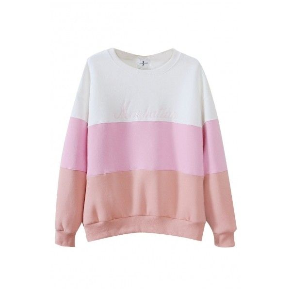 Color Block Print Round Neck Long Sleeve Sweatshirt (£12) ❤ liked on Polyvore featuring tops, hoodies and sweatshirts
