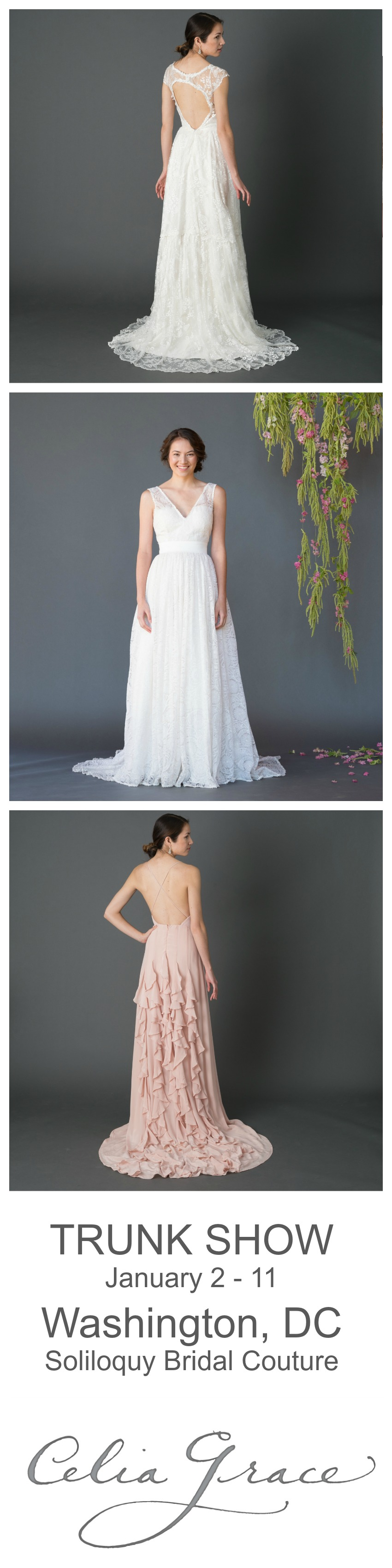 Wedding dress trunk show  Celia Grace  Soliloquy Bridal Couture Trunk Show January