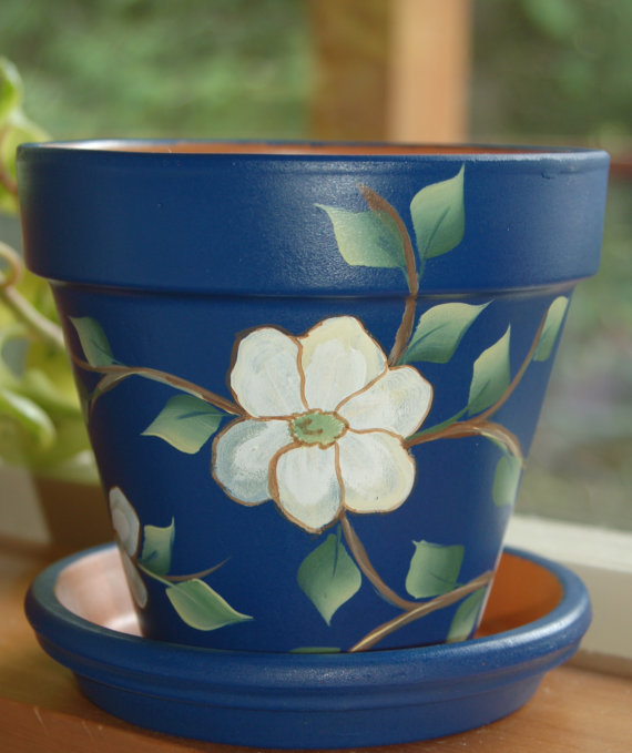 Ceramic Pot Designs Ideas: 6'' Or 8'' Hand Painted Clay Flower Pot Tropical Dark Blue