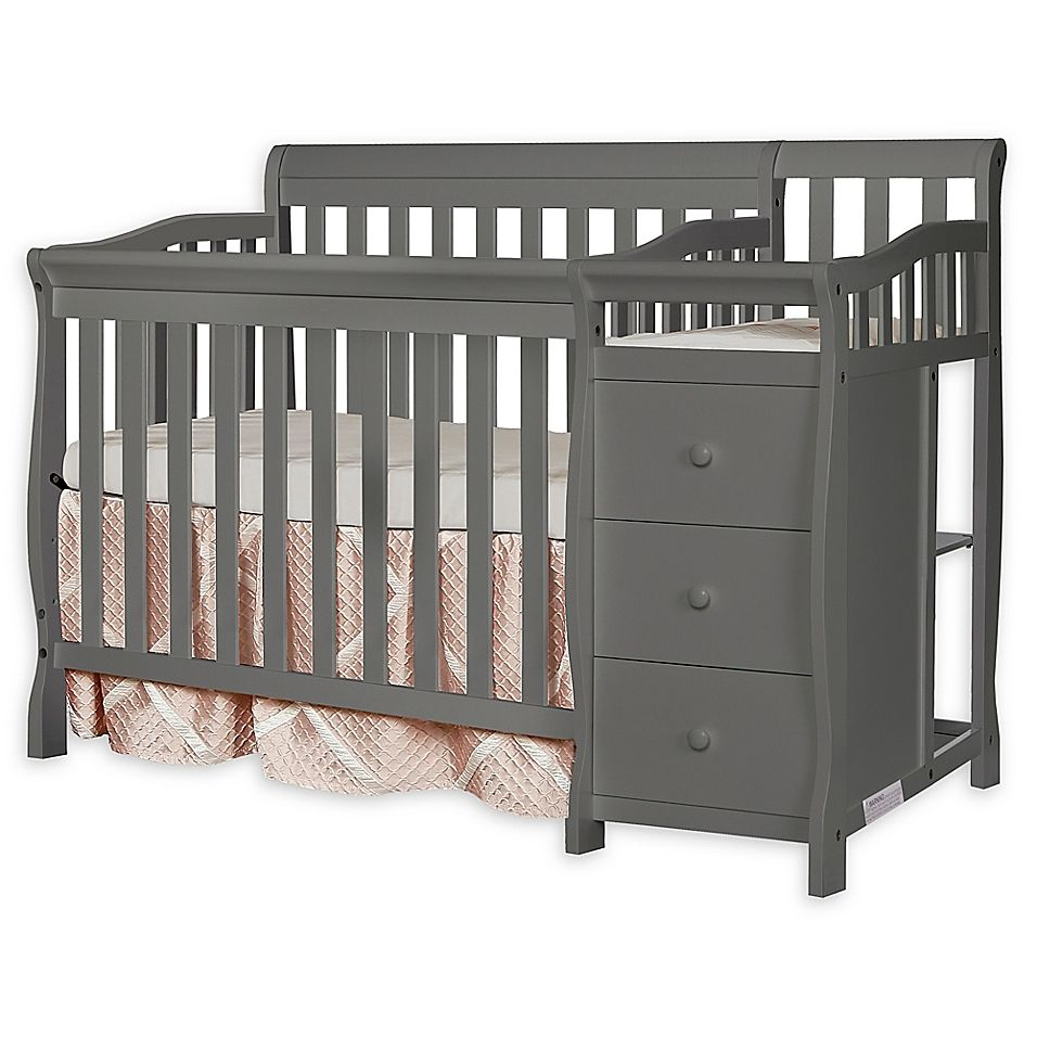 Dream On Me Jayden 4 In 1 Mini Convertible Crib And Changer In Steel Grey Convertible Crib Best Baby Cribs Cribs