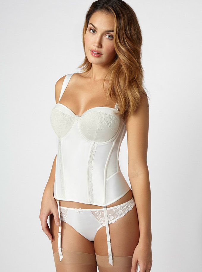 Angelina Bridal Satin Multiway Basque Ivory Color By