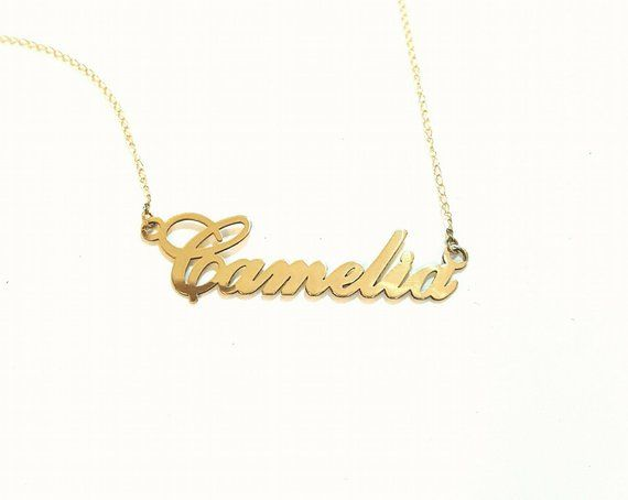 Gold Name Necklace Custom Carrie 14k Or 10k Rose Choose From 50 Different Fonts Gold Name Necklace Name Necklace Gold