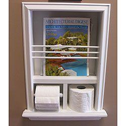 In Wall Bevel Framed Magazine Rack Toilet Paper Holder