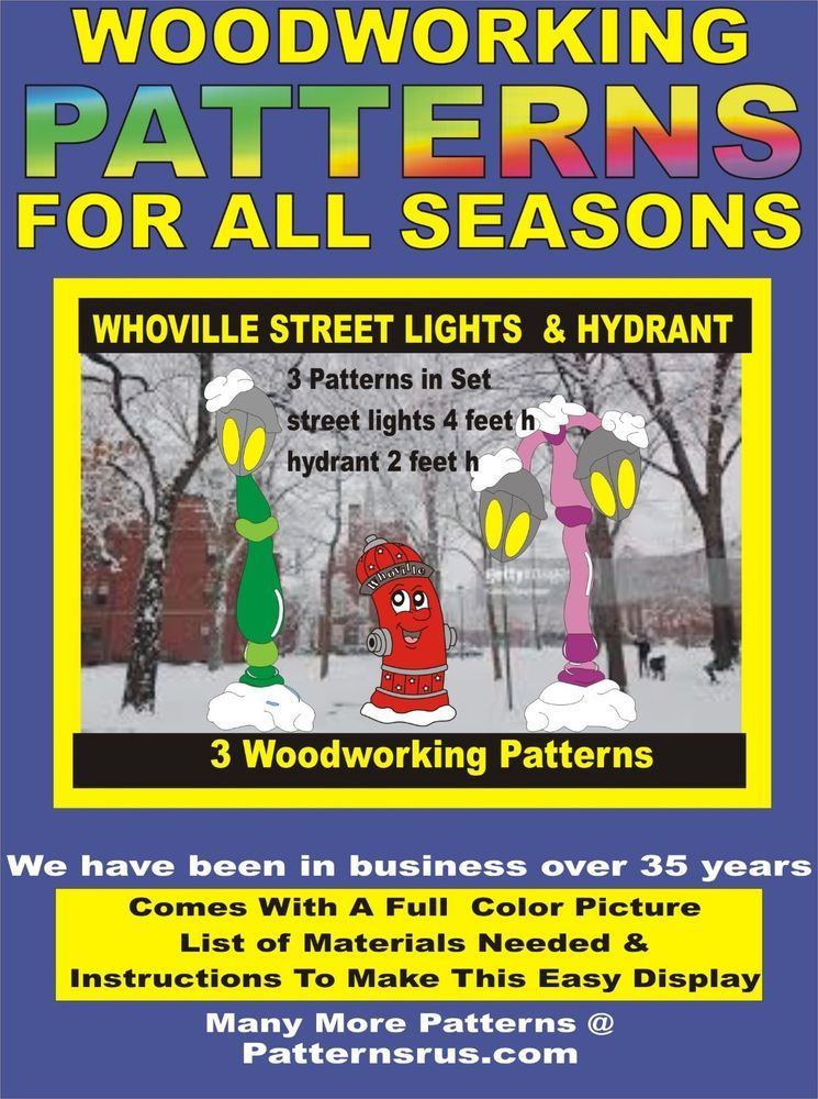 Whoville Street Lights Hydrant 3 In Set Yard Art Pattern Wood Working Craft Woodworking Woodworking Patterns Woodworking Kits