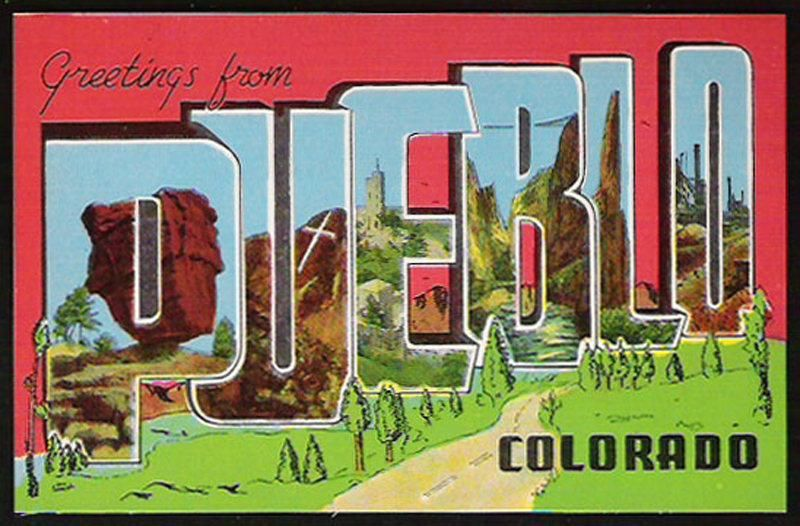 Letter Greetings Fair Pueblo Colorado Postcard Scenic Large Letter Greetings Co Pc .