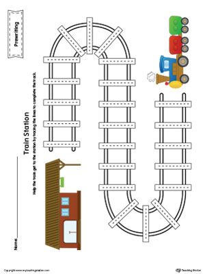 Prewriting Line Tracing Train Station Worksheet in Color