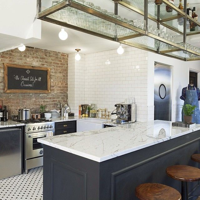 love this kitchen brick wall tile floor open rack above. Black Bedroom Furniture Sets. Home Design Ideas