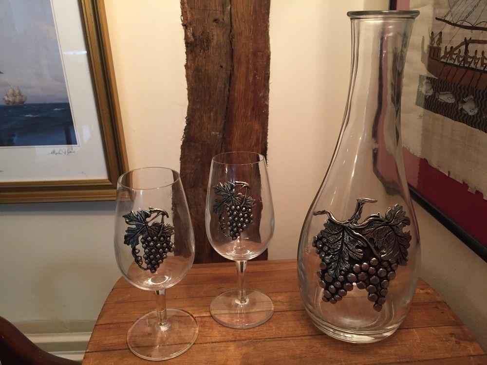 Man Caves Ni : Pewter embellished grapes & leaves wine carafe 2 glasses man cave