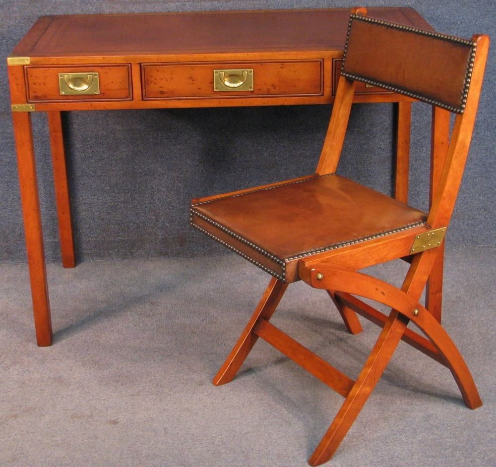 Campaign Military Style Yew Wood Leather Top Desk Writing Table With Chair