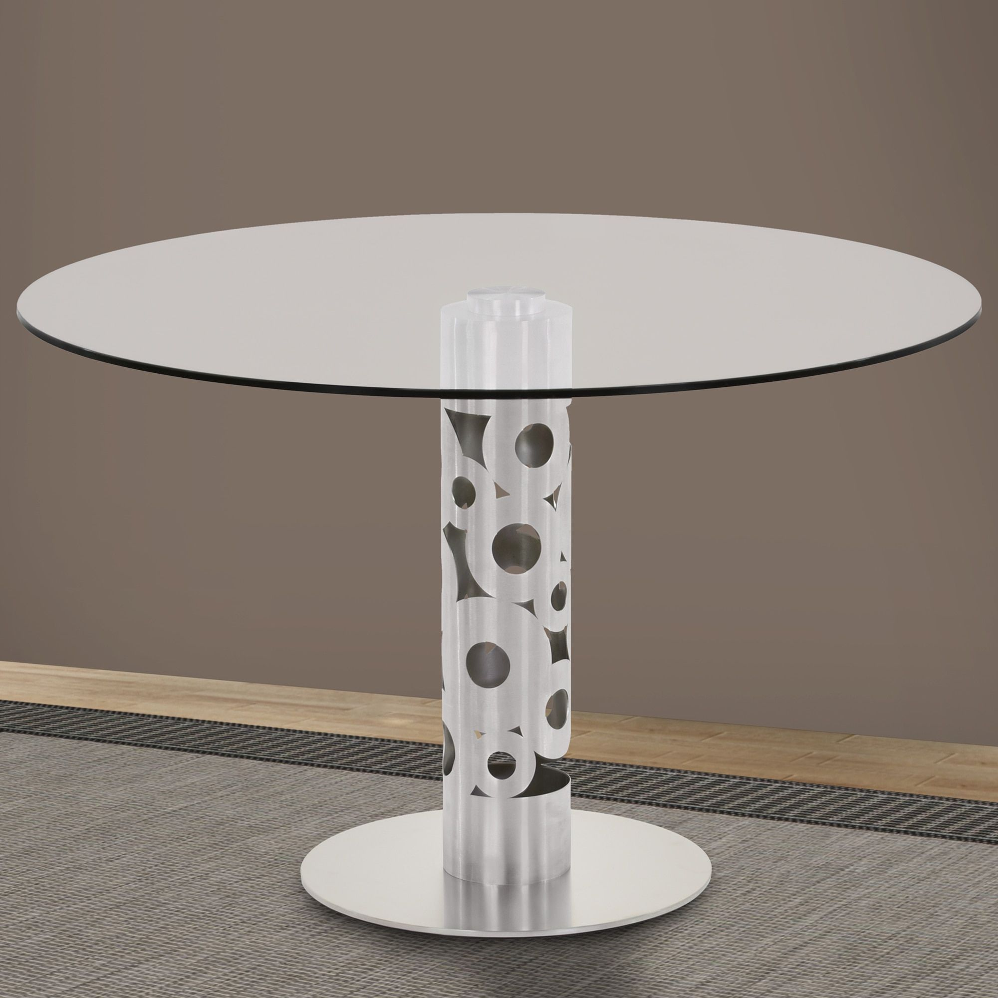 Armen Living Berlin Round Dining Table In Brushed Stainless Steel