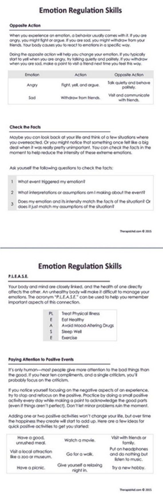 Dbt Emotional Regulation 101 Dbt Activities Dbt Skills Dbt