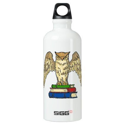 #Owl and Books Water Bottle - #travel #accessories