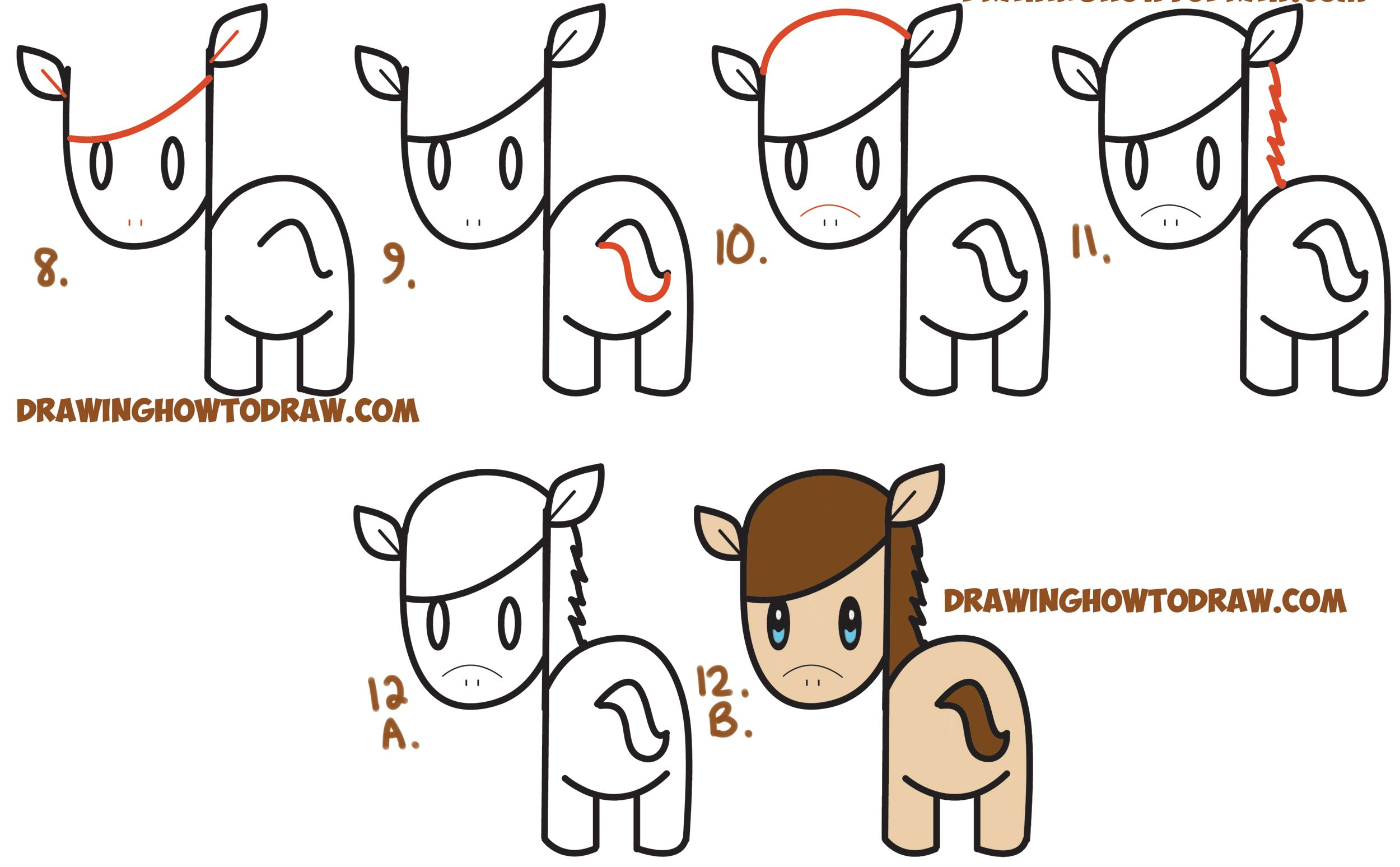 How To Draw A Cute Kawaii Chibi Horse From Letters And