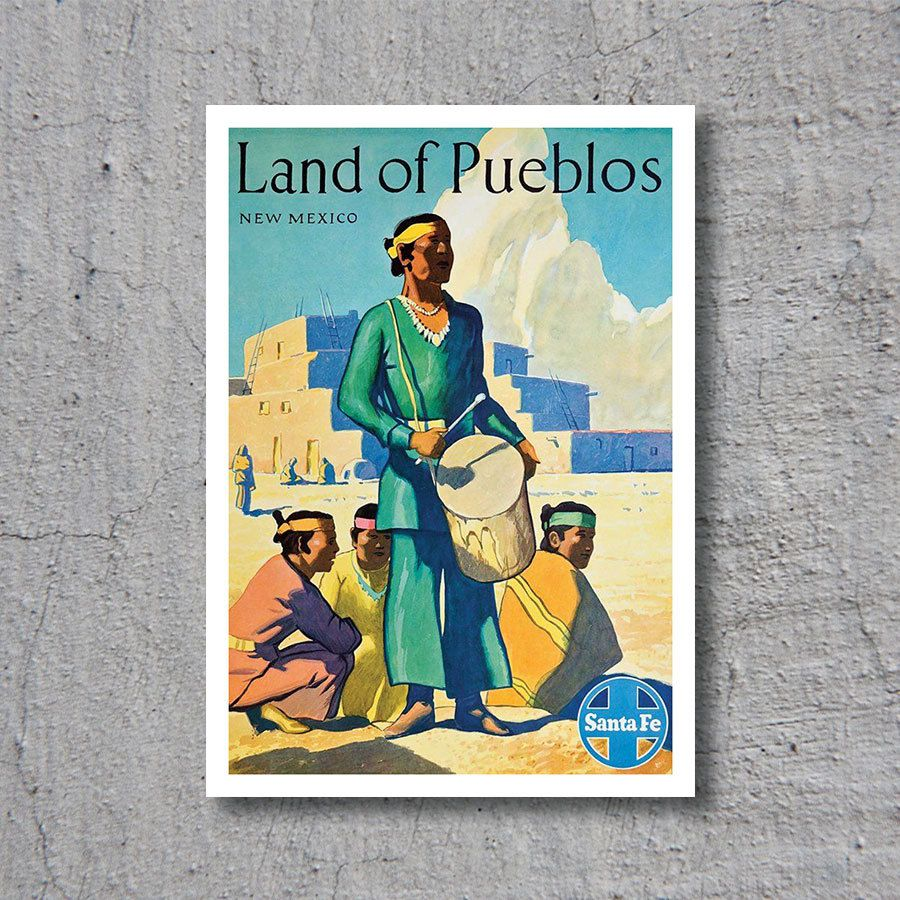 1949 Land of Pueblos, New Mexico // Santa-Fe Railroad // High Quality Fine Art Reproduction Giclée Print // Vintage Poster / Canvas by WiredWizardWeb on Etsy