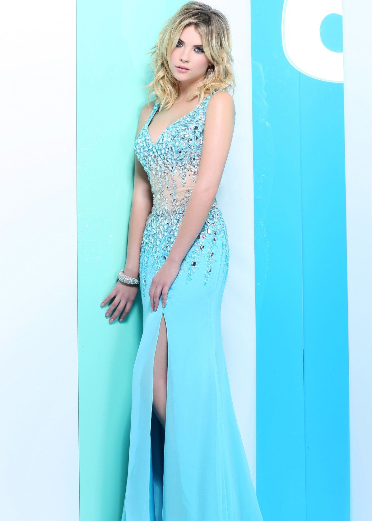 Ashley Benson in this Beautifully Beaded Tiffany Blue Mesh Prom ...