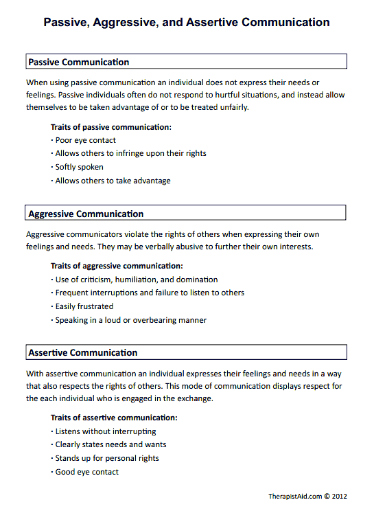 Passive Aggressive And Assertive Communication Worksheet Social