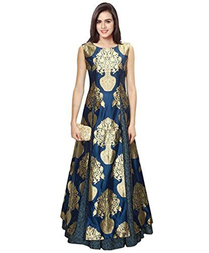 Nikki Fab Presents Blue Banarsi Print unstitched PartyWear Gown.Our Dresses  Are Ready To Flaunt Your Style. It is Stitched 69fd259d0