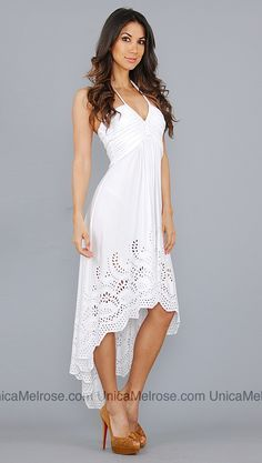 Flowing white summer dresses