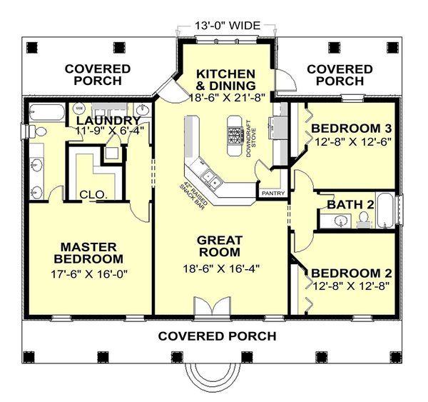 Southern Style House Plan - 3 Beds 2 Baths 1640 Sq/Ft Plan #44-168 - Houseplans.com