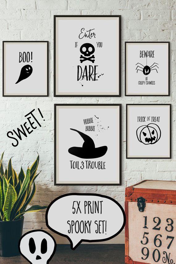 5x Halloween Print Set Halloween Printable Decor By Bykiprintables