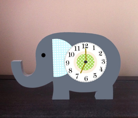 Elephant Clock Gray And Blue Made To Match Pottery By Thewoodenowl