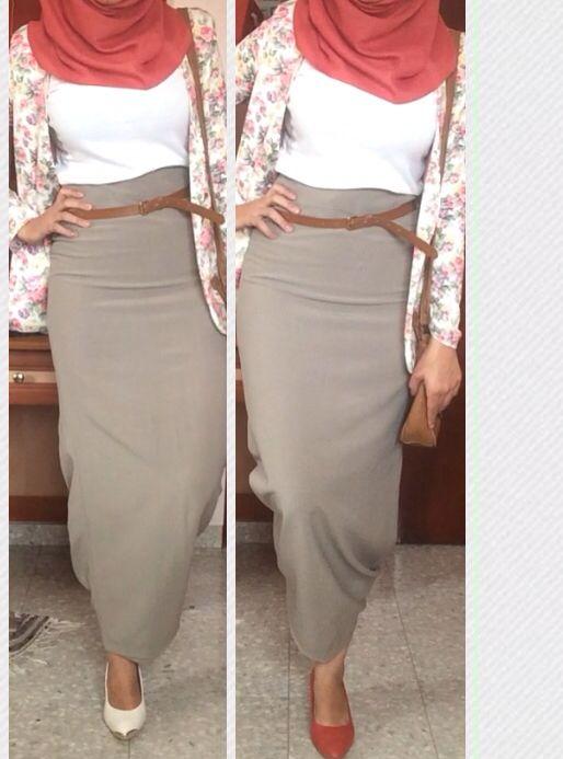 Skinny long skirt ,, pink hijab | My Hıjab style | Pinterest ...