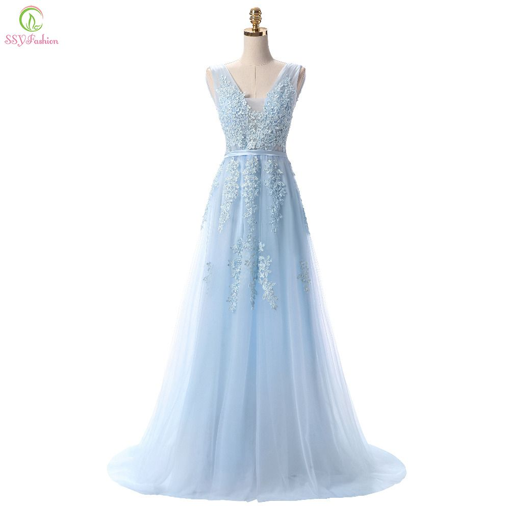 Vestido de festa ssyfashion sweet light blue lace vneck long