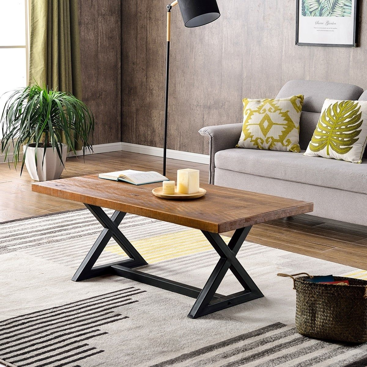 - Carbon Loft Wyldeck Rustic Industrial Coffee Table With X-shaped