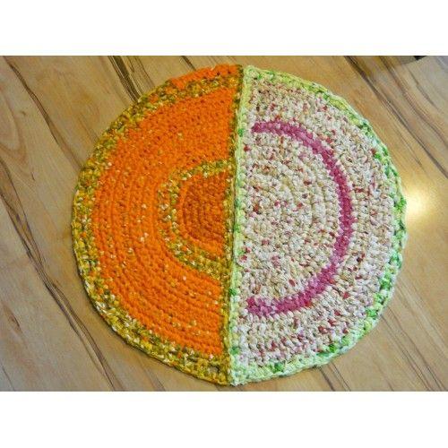 Doormat, Half circle Rug, 31x16 Rag Rug, Bathmat, Upcycled fabric, Cream
