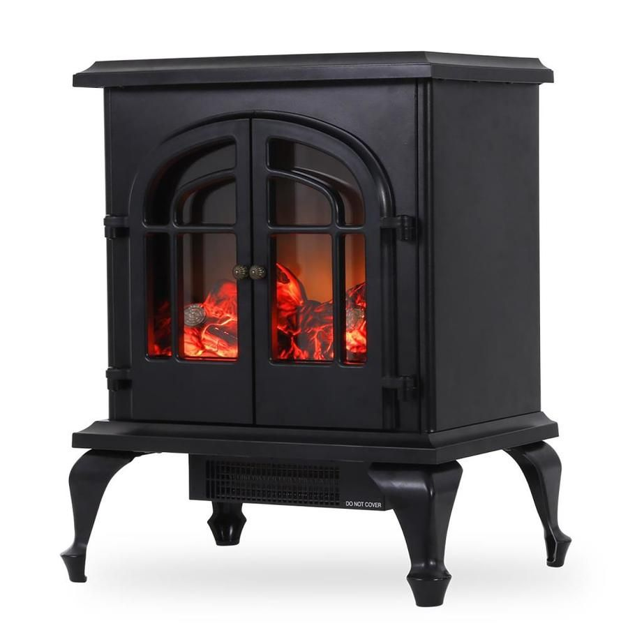 Clihome 13 83 In W Black Led Electric Fireplace Lowes Com Electric Stove Heaters Stove Heater Freestanding Stove