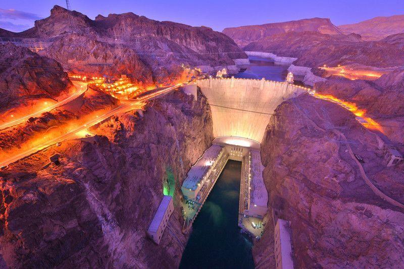 Nevada holds the hoover dam night litup hoover dam